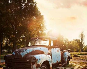 Old Chevy Truck Farm Pickup Photography, Rusty Vehicle, Aqua Blue & Brown Rusted Chevrolet, Vintage Car Lover American Classic Man Cave Art