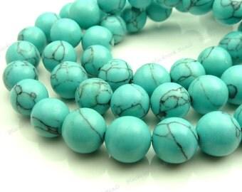 10mm Turquoise Blue Howlite Round Gemstone Beads - 16 Inch Strand - BG8
