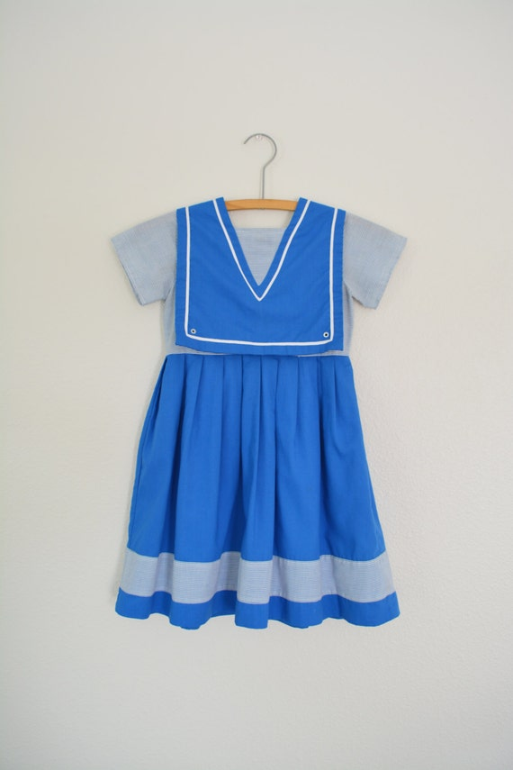 Girls Sailor Dress Vintage 1960s
