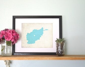 Afghanistan Personalized Country Map Custom Art 8x10 Print