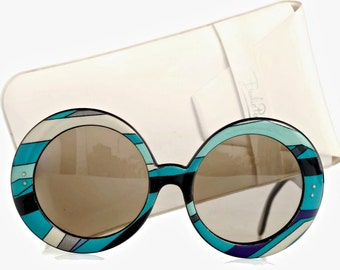 Vintage EMILIO PUCCI Oversized Round Psychedelic Sunglasses