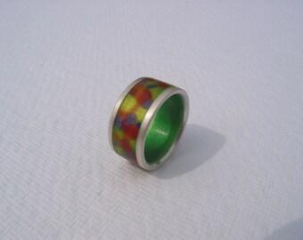 Harlequin ring enamel silver