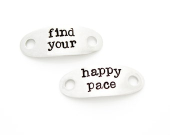 "Shoelace Tags, ""Find Your Happy Pace"". Stamped Shoe Tag for Fitness Motivation, Runner Gift. Marathon Runner Inspiration."