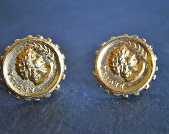 Gold tone ROMAN COIN CLIP earrings