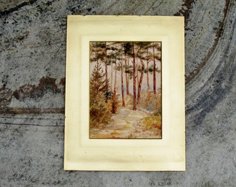 Edwardian Landscape Painting of Trees Original Art Watercolor of Woodland Forest Wall Hanging Home Decor