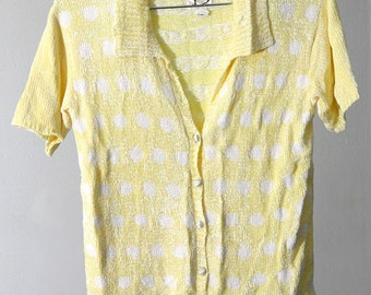 Pastel Yellow with White Polka Dots Short Sleeve Semi-Cropped Chenille Sweater