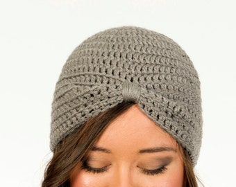 Gray Turban Crochet Hat, Women's Winter Accessory, Knit Beanie, 1920's Inspired, Gatsby, Handmade Crocheted, Knitted Fashion Statement