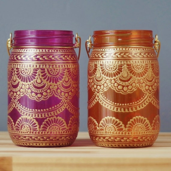 Hand Painted Mason Jar Duo