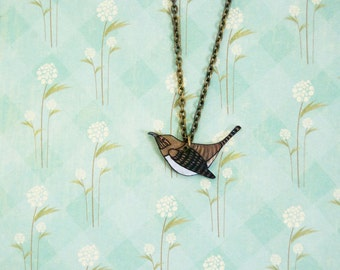 House Wren Necklace | Song Bird | Shrink Plastic | Wearable Art