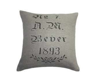 A.M. Bener 1893 European Grain Sack Cushion cover