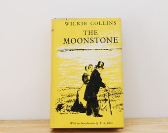 SALE! The Moonstone by Wilkie Collins, vintage hardback book, written 1868 published 1960, The Worlds Classics, yellow cover