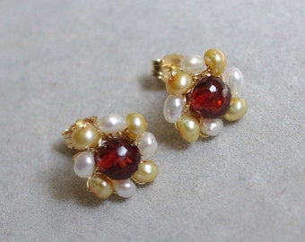 Post Earrings with Garnet, fresh water pearls, 14K Gold filled, wire wrapped. January birthstone. E239.