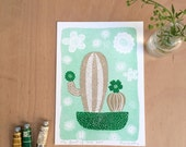 Lovely Green Cactus Print - Charming Cactus Poster - Riso Art Print - Cactus Wall Art - Home Decor - Botanical Illustration - A5 format
