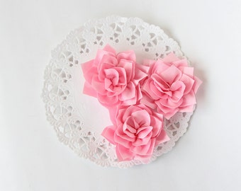 "3 pcs - Baby pink double satin flowers - Frayed Flower - Fabric Flower - 2 1/4"" Flowers"