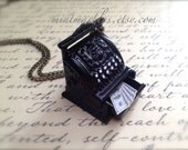 Vintage Style Black Cash Register Necklace. Teeny Miniature Metal Cash Machine. Cute Whimsical Oddities. Gift. Money Wealth 100 Dollar Bills