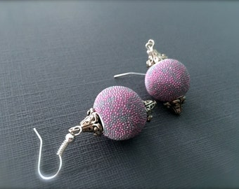 Round Pink and Purple Statement Earrings. Seed Beads. Decorated Silver Bead Caps. Drop Dangle Earrings. Under 10 Gifts. Purple.