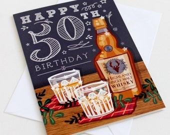 50th Birthday Card - Happy 50th  Birthday Card  - 50th Birthday Card Men - 50th Birthday Husband - 50th Birthday Dad - Birthday Card