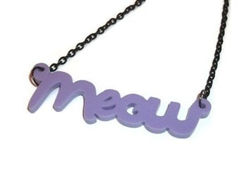 Meow Necklace, Cute Lilac Lavender Pastel Laser Cut, Cat Kitty Kitten Kawaii