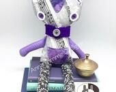 Purple stuffed Cat Doll Plush Soft Toy, Handmade Plush Cat birthday Gift nursery decor, Stuffed Animal Toy Kitty companion with glass eyes