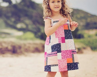 Girls Shoulder Tie Sun Dress / Pink and Blue Patchwork / 12 months to 5T