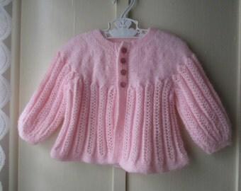 Vintage handknit baby cardigan sweater  / baby girl's button up pink jumper /  newborn to 6 months