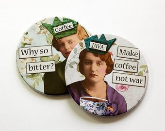 Funny Coasters, Coasters, Drink Coasters, Coffee Coasters, Coffee Lover, Gift for coffee lover, make coffee not war, Loves Coffee (5035a)