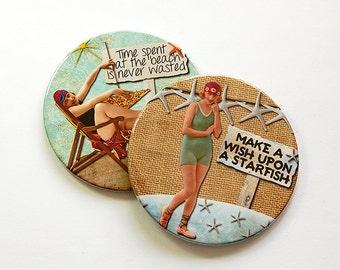 Beach Coasters, Coasters, Drink Coasters, Beach Decor, Starfish, Hostess Gift, Beach Lover, Summer Vacation, Barware, Summertime Fun (5036a)