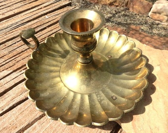 Vintage Rosenthal Netter Inc Brass, Ornate, Scalloped, Candle Holder, Chamberstick  Numbered 1/022