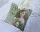 Pink Cream Cottage Roses Sachet, Lavender, Heartfelt Gift, Victorian Girl, Inspirational, Support, Cancer, Swallows Birds