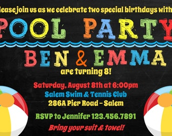 Pool Party Birthday Invitation / Twins, Siblings, Cousins, -  (Digital File) / Pool Party Invitation For Two / Pool Birthday Inivitation