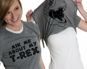 Women's Ask About My GRAY T-Rex Flip Shirt dinosaur, cool back to school, flipover, jurrasic park lover, awesome gift, present for her S-2XL