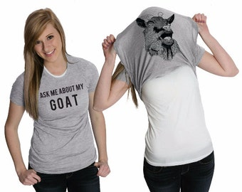 Women's Ask About My Goat Flip Shirt Flipover Disguise Costume T-Shirt back to school in style shirt prefect gift present birthday  S-2XL