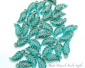 Aqua Turquoise Teal Leaves. Blue Green Leaf Charms. Acrylic Charms. 18mm Leaves - 20 Pieces - Beige Embossed Vein Leaves