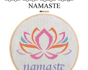 NAMASTE - Home Decor Counted Cross Stitch Pattern PDF - Plus Free Bonuses - Instant Download