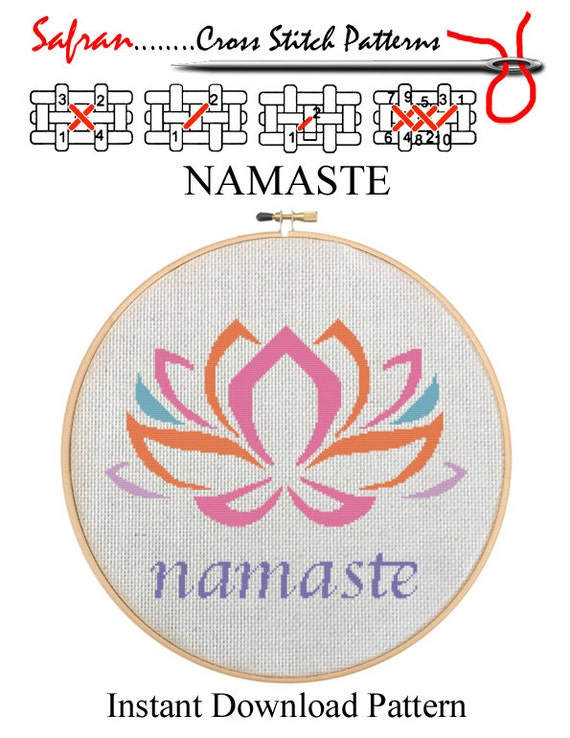 NAMASTE   Home Decor Counted Cross Stitch Pattern PDF   Plus Free Bonuses    Instant Download