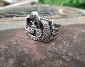 Cast Sterling Silver Motorcycle Ring Eagle Stars Strips Mens Size 10