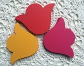 Tulip Die Cuts, Large Flower Die Cuts, Party Table Decorations, 4 Inch Flowers, Set of 24