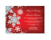 Winter Reception Only Invitations and RSVP reply cards - Snowflake Royal Red White Blue - Snowflake Post Wedding Invitations - Printed