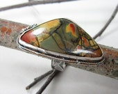 Picasso Jasper Ring  Solid Sterling Silver  Natural stone  Size 10 Triangle shape