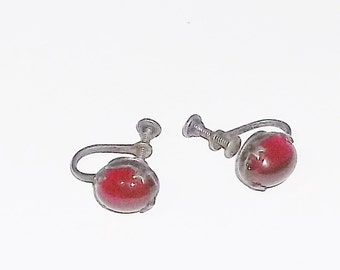Vintage Sterling and Garnet Earrings