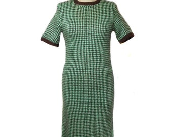 vintage 1960s knit dress / mint chocolate chip / wool blend / hand knit / wiggle dress / 60s dress / women's vintage dress / size medium