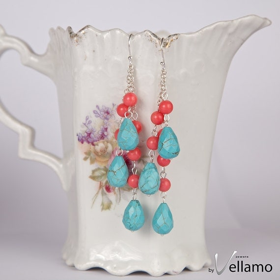 Summer colors earrings, blue turquoise with pink coral, long dangling, rich cascading earrings, sterling silver statement ear-rings