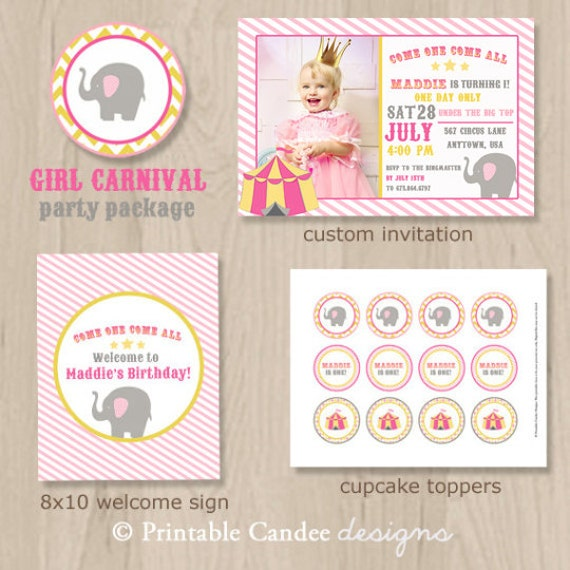 Girl Carnival Circus Birthday Party Pack - Circus Birthday - Carnival Birthday - Pink and yellow Circus - Printable Circus Decor -