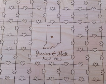 100-150 pcs Wedding Puzzle State Guest Book Heart Puzzle Custom Puzzle with Heart Tabs