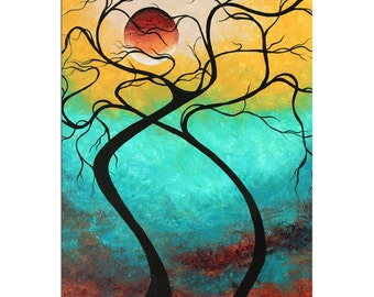 Colorful Abstract Landscape 'Twisting Love III' Contemporary Tree Wall Decor, Funky Abstract Tree Artwork, Fun Modern Painting Metal Giclée