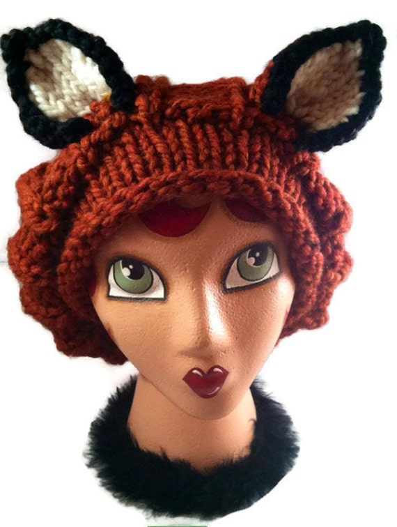 Instant Download Knitting Pattern- Fox Hat Knit Pattern-Slouchy Hat Pattern-Hand Knit Hat-Animal Hat Pattern-Chunky Knit Hat Pattern
