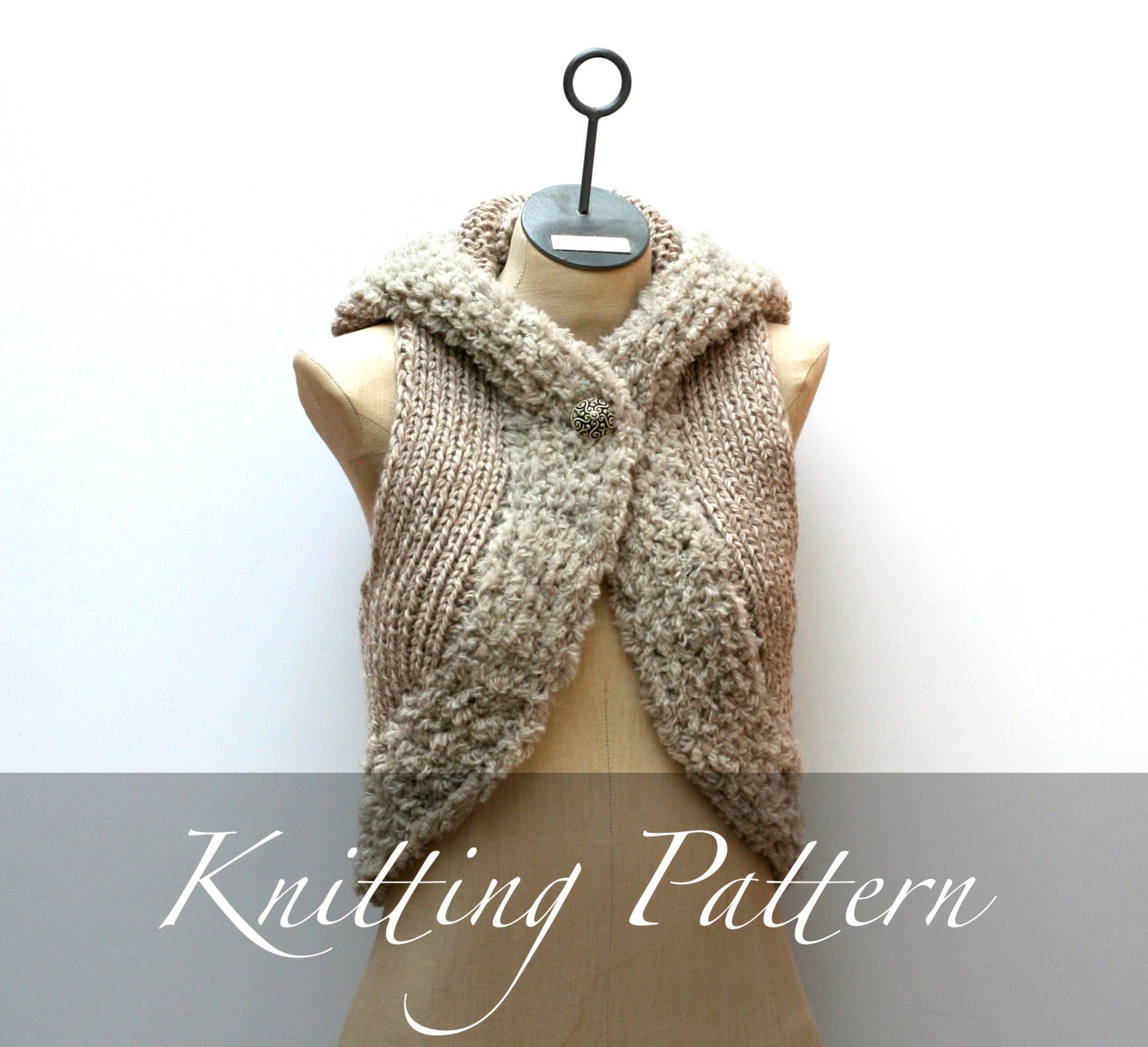 Knitting Pattern Hooded Vest : Knitting Pattern: The Genevieve Hooded Vest Bulky Wool