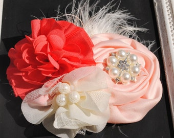 Vintage Coral and Pink Floral Headband