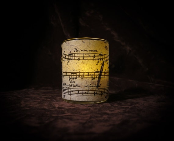 Mahler sheet music Candle holder/ luminary with real leaf paper