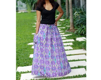 Purple Maxi Skirt / Ethnic Skirt / Womens Rayon Maxi Skirt / Ethnic Purple Skirt with Pockets